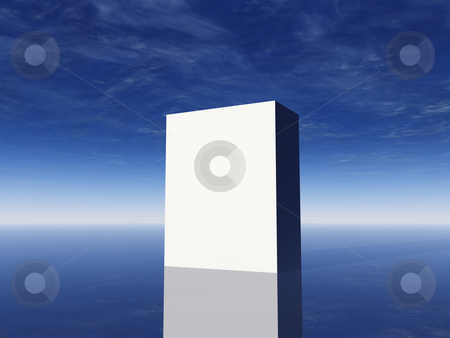 Box stock photo, White box in front of cloudy sky - 3d illustration by J?