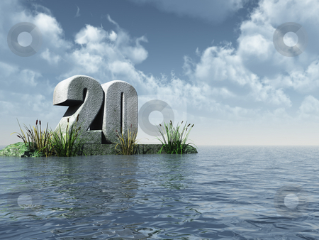 Twenty stock photo, The number twenty at the ocean - 3d illustration by J?