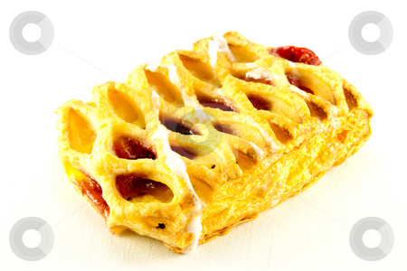 Raspberry Danish stock photo, Raspberry and custard danish with clipping path on a white background by Keith Wilson