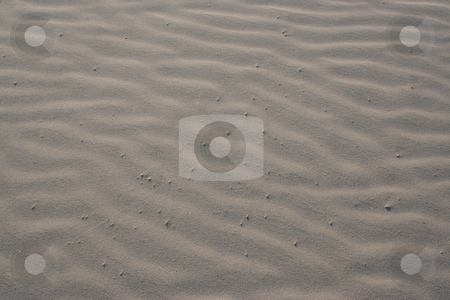 Beach Sand stock photo, Some winded sand on the beach.  The ripples make nice little sand dunes.  The sand is very dry and soft.  This shot makes a great background pattern. by Brandon Seidel