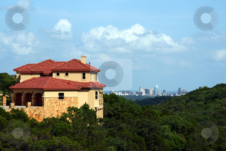 Home with an Austin view stock photo, A nice home with a downtown Austin, Texas view. by Brandon Seidel