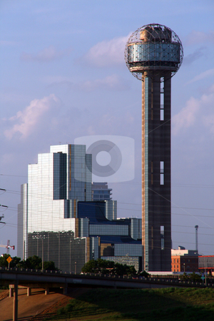 Dallas Texas Skyline stock photo, A section of buildings in the Dallas Texas Skyline at dusk. by Brandon Seidel