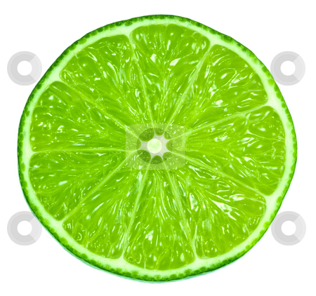 Green Limes stock photo, A very green lime cut in half exposing the pulp. by Brandon Seidel