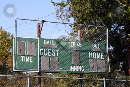 Baseball Scoreboard stock photo, An old baseball scoreboard at a public park ballfiled. by Brandon Seidel