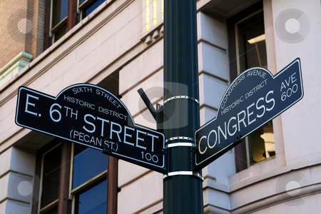 6th Street in Austin Texas stock photo, The 6th Street road sign.  6th Street is the party strip in Austin, Texas.  Parties, Live Bands, Bars, Clubs, ... its all happening on 6th Street. by Brandon Seidel