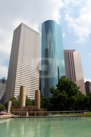 Downtown Houston Texas stock photo, A very crisp shot of downtown Houston, Texas on a cloudy day. by Brandon Seidel