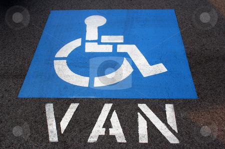 Handicap Van Parking stock photo, A handicap van parking sign painted on the asphalt. by Brandon Seidel