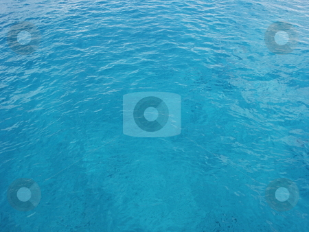 Clear Blue Ocean Water stock photo, Clear blue ocean water in Cozumel, Mexico.  This works great for a background image.  Shot on a sunny clear day.  You can see the bottom through the clear blue water. by Brandon Seidel