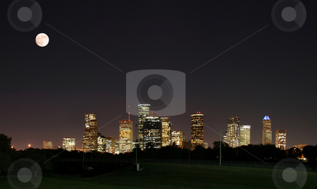 Downtown Houston Night Pano stock photo, A night panoramic of downtown houston by Brandon Seidel