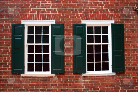 Colonial Windows stock photo, Windows on a building built in the late 1700s. by Brandon Seidel