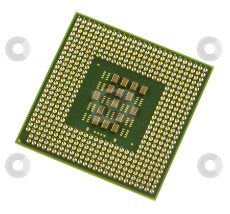 Computer Processor stock photo, A green and gold computer processor chip by Brandon Seidel