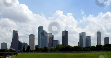 Houston Texas Skyline stock photo, The Houston Texas Skyline on a bright cloudy day. by Brandon Seidel