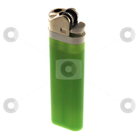 Green Lighter stock photo, A green disposable lighter isolated on a white background by Brandon Seidel