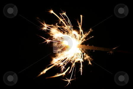Burning Sparkler stock photo, A burning sparkler at night by Brandon Seidel