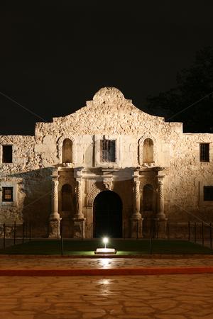 Alamo at Night stock photo, The Alamo lit up at night in San Antonio Texas by Brandon Seidel