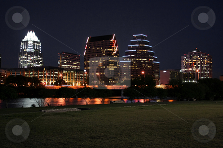 Downtown Austin, Texas at Night stock photo, A very pretty night in Austin, Texas.  This shot was taken from across Town Lake downtown.  A very useful image for Austin related content. by Brandon Seidel