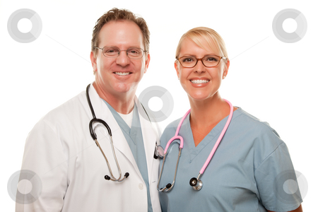 Friendly Male and Female Doctors on White stock photo, Friendly Male and Female Doctors Isolated on a White Background. by Andy Dean