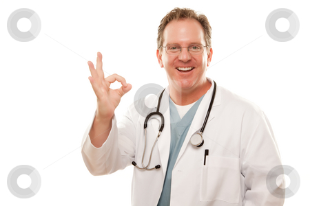 Male Doctor Giving the Okay Sign with His Hand stock photo, Male Doctor Giving the Okay Sign with His Hand Isolated on a White Background. by Andy Dean