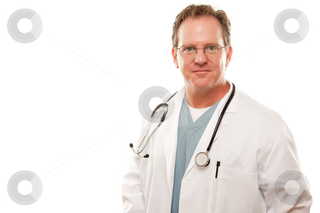 Smiling Male Doctor stock photo, Smiling Male Doctor Isolated on a White Background. by Andy Dean