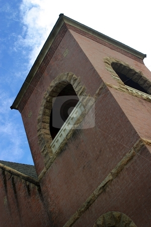 Church Tower stock photo, Chruch tower very simple with sky in background by Henrik Lehnerer