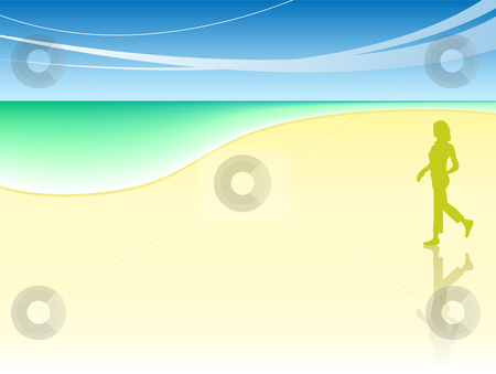 Woman at the beach stock vector clipart, Woman walking on the beach sore with beautiful sea by Augusto Cabral Graphiste Rennes