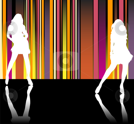 Catwalk Stripes stock vector clipart, Sexy girls silhouettes in front of striped background by Augusto Cabral Graphiste Rennes