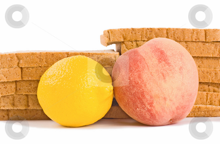 Breakfast, bread, peach and golden lemon stock photo, Breakfast make up of bread, peach and golden lemon for dieting by Lawren