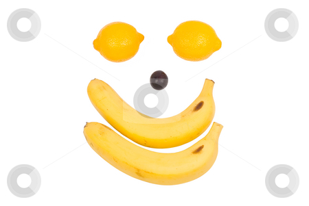 Fruit like man's face. Lemon, banana and grape stock photo, Lemon, banana and grape as man's face by Lawren