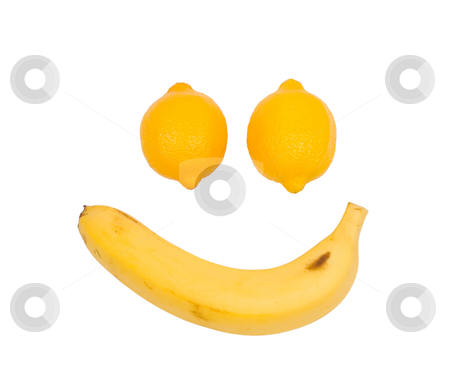 Fruit like man's face. Lemon and banana stock photo, Lemon and banana as man's face by Lawren