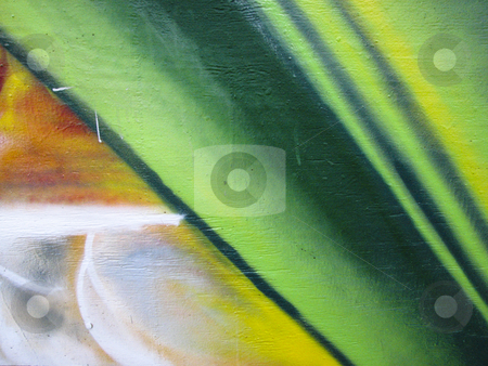 Green abstract design painted on wood stock photo, Green abstract graffiti on wood horizontal wall by Annette Davis