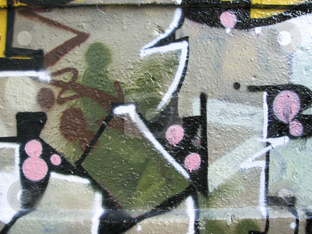Earth tone graffiti stock photo, Earth color graffiti painted on concrete wall by Annette Davis