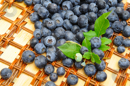 Blueberries stock photo, Freshly picked blueberry at the bottom of a wicker basket with a few leaves that were pulled when picking. by Lynn Bendickson