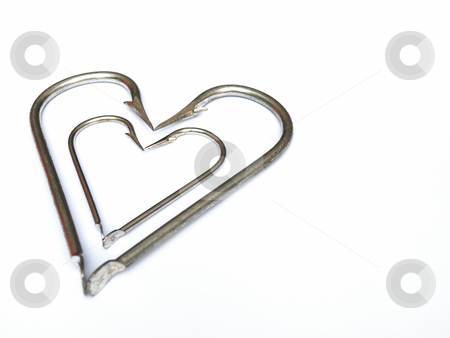 Fishing hearts stock photo, Heart in heart in the fisherman's heart. White background with space for text. by Sinisa Botas