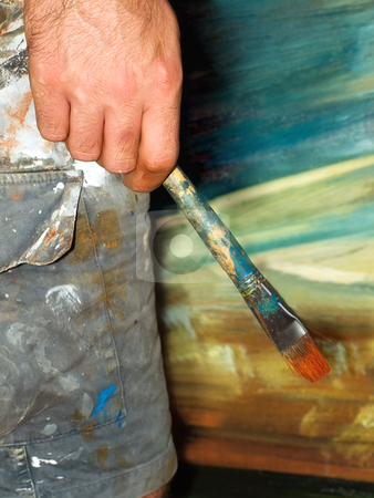 Painter stock photo, Closeup of the painter's creative moment of thinking during his  work.. by Sinisa Botas