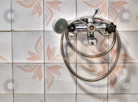 Shower stock photo, Just the old metal shower in the HDR technique. by Sinisa Botas