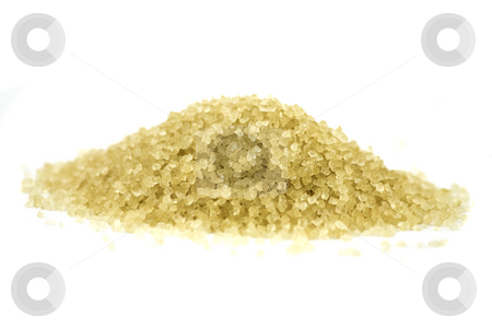 Pile of brown sugar stock photo, Crystals of brown sugar piled on white background by Arek Rainczuk