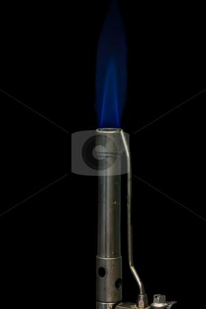 Bunsen burner stock photo, Bunsen burner with flame, isolated on black by Arek Rainczuk