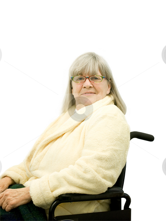 Smiling Senior Woman in Wheel Chair stock photo, Smiling senior woman in wheel chair on white by John Teeter