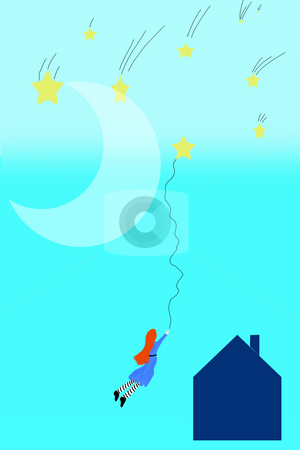 Catch A Falling Star stock photo, An illustration I made of a little girl catching a falling star. by Allyson Ricketts