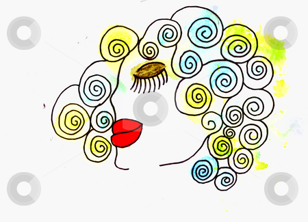 Beautiful Hair Illustration stock photo, A water color painting I made of a lady with curly colorful hair. Many uses. by Allyson Ricketts