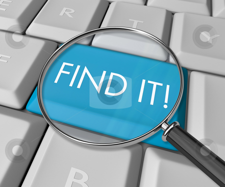 Find It Key on Computer Keyboard stock photo, A keyboard with a blue key reading Find It by Chris Lamphear