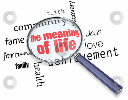 Searching for the Meaning of Life - Magnifying Glass stock photo, A magnifying glass hovering over several words, at the center of which is the Meaning of Life by Chris Lamphear