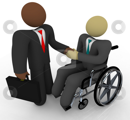 Business Handshake - Diversity stock photo, An African American businessman and another in a wheelchair shake hands, symbolizing diversity in business by Chris Lamphear