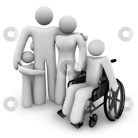 Family Together - Parents and Kids, Wheelchair stock photo, A family of four people stands together holding hands: mother, father and two children, one in a wheelchair by Chris Lamphear