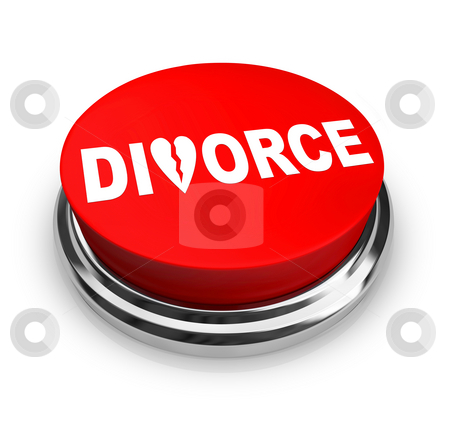 Divorce - Red Button stock photo, A red button with the word Divorce on it by Chris Lamphear