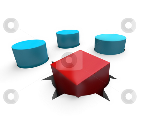 Misfit - Square Peg in Round Hole stock photo, A red cube is a poor fit in a round hole by Chris Lamphear