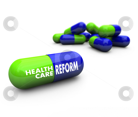 Health Care Reform - Pills stock photo, Close-up of some blue and green pills, with one featuring the words Health Care Reform by Chris Lamphear