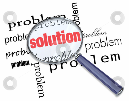 Problem and Solution - Magnifying Glass stock photo, A magnifying glass hovering over the word Search by Chris Lamphear