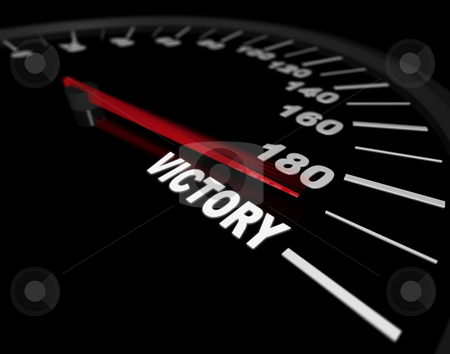 Speeding Toward Victory - Speedometer stock photo, A speedometer showing the needle pushing toward the word Victory by Chris Lamphear