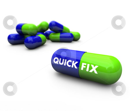 Pills - Quick Fix stock photo, Close-up of some blue and green pills, with one featuring the words Quick Fix by Chris Lamphear
